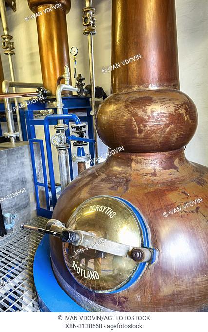 Copper still, Kilchoman distillery, Islay, Inner Hebrides, Argyll, Scotland, UK