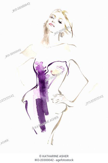Fashion model posing in strapless dress