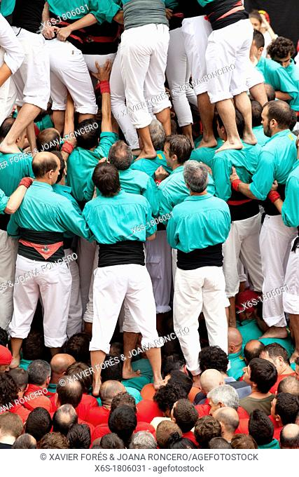 Castellers - human tower tradition in Catalonia -, Sant Jaume square, Festes de la Mercè, Barcelona, Spain