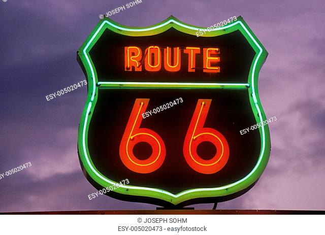 A neon sign reading Route 66 in Barstow, California