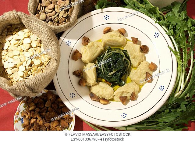 fava bean pure`e with chicory