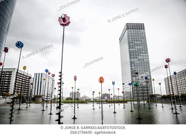 Takis Pool- sculpture, skyscraper in La Defense business district of the Paris, France