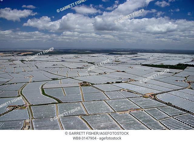 Greenhouses, Mazagón, Andalusia, Spain - Aerial