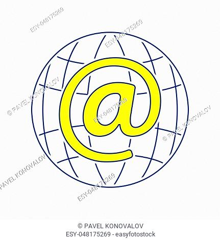 Global e-mail icon. Thin line design. Vector illustration