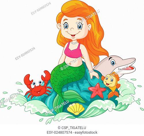 Cartoon happy little mermaid sittin