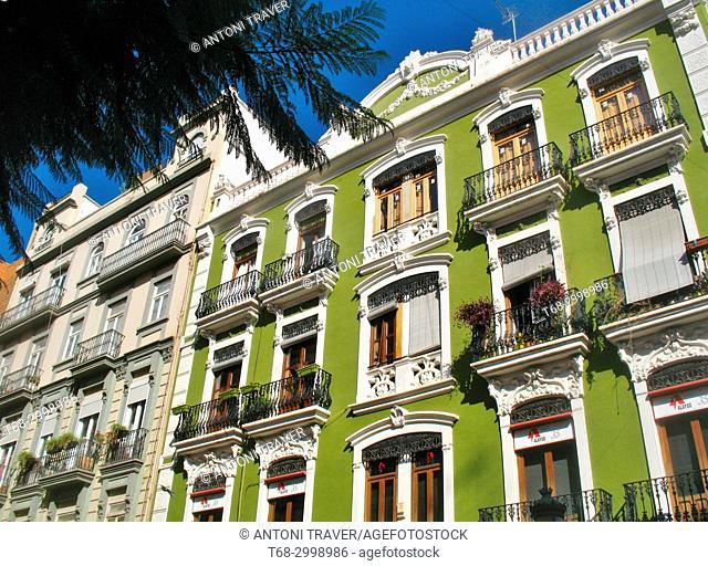 Architecture of the historic center, Ruzafa district, Valencia, Spain