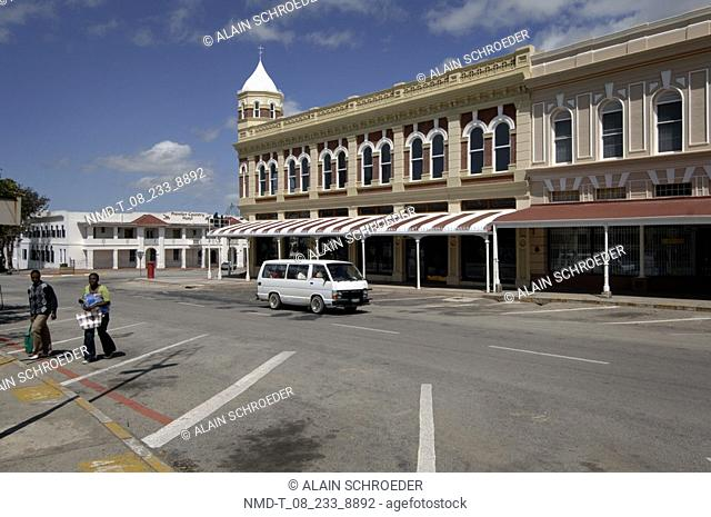 Van moving on the road in a city, Grahamstown, Eastern Cape Province, South Africa