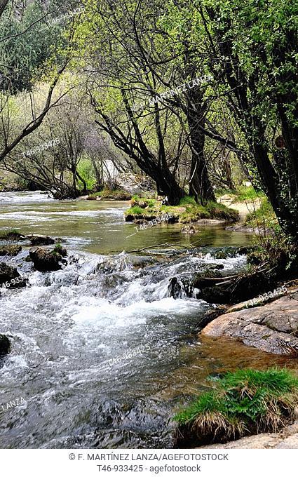 Rio Manzanares a su paso por el Parque Regional de la Cuenca Alta del Manzanares,conocido como La Pedriza en Madrid en el pueblo de Manzanares el Real