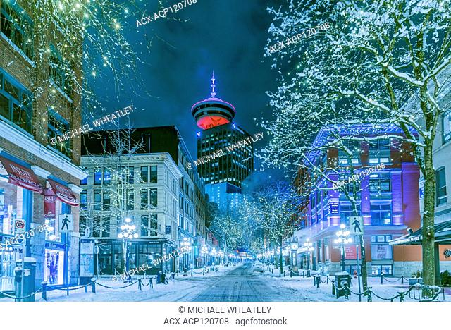 Water Street, winter, Gastown, Vancouver, British Columbia, Canada