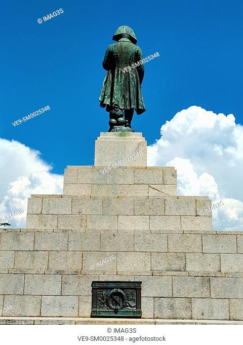 Memorial with statue of Napoleon Bonaparte as First emperor of France, Place d'Austerlitz, Ajaccio, island of Corsica