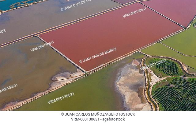 Aerial view of salines in Odiel