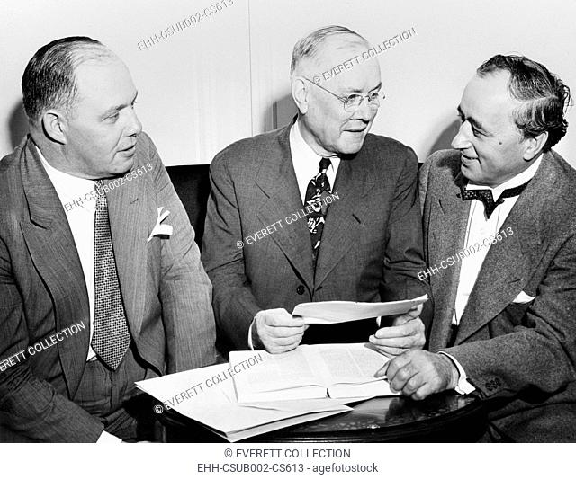 American Federation of Labor's Executive Council, August 9, 1943. L-R: George Meany, William Green, and Matthew Woll. Looking toward the Postwar labor issues