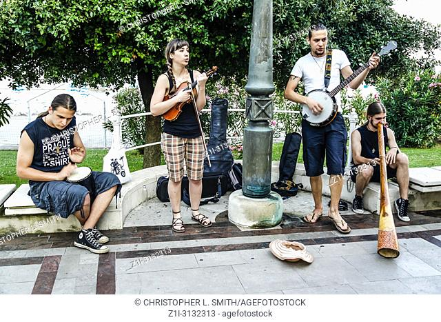 Group of buskers by the park in Opatija, Croatia