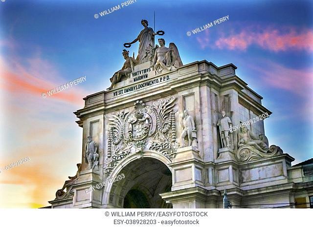 Rua Augusta Arch Baixa Praca de Comercio Palace Square Lisbon Portugal. Arh created 1755 to commemorate city's reconstuctrion under1755 earthquake