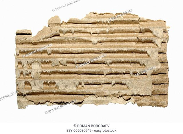 Striped cardboard piece isolated on white background