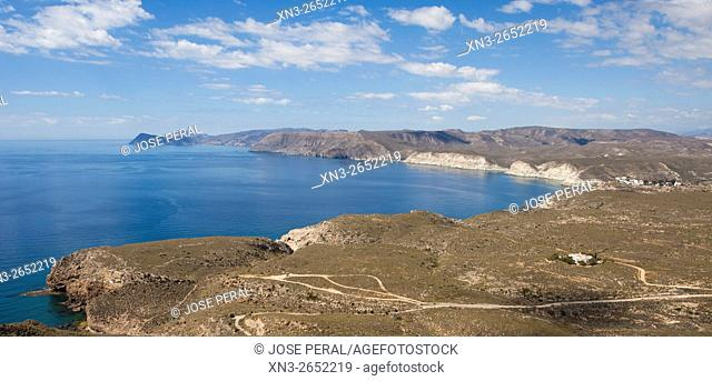 Views from theWatchtower of Mesa Roldan and Agua Amarga, Mediterranean Sea, Cabo de Gata-Nijar Biosphere Reserve, Natural Park, Almeria province, Andalucia
