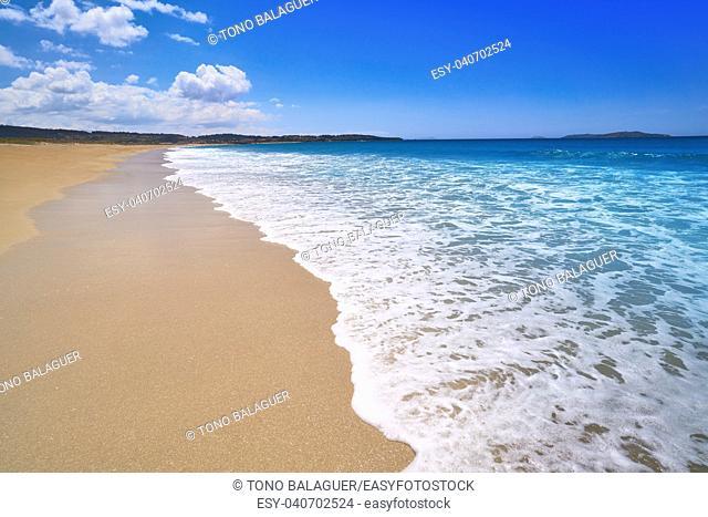 Montalvo beach in Pontevedra of Galicia in Sanxenxo also Sanjenjo at Spain