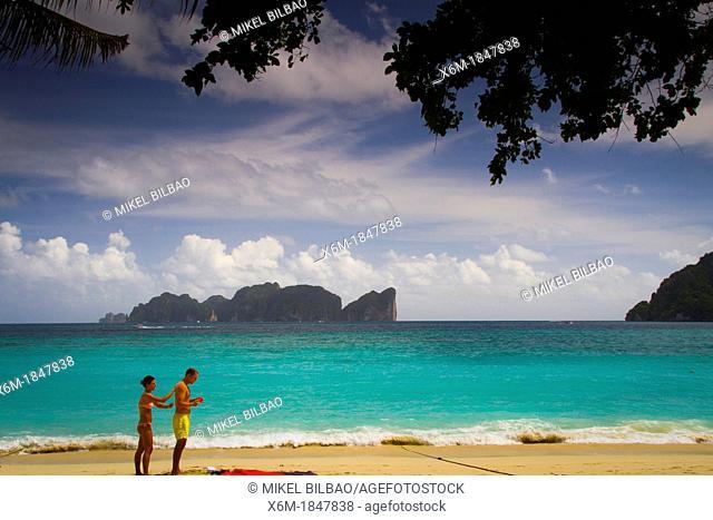 Tourists on Long beach  Phi Phi Don island  Krabi province, Andaman Sea, Thailand