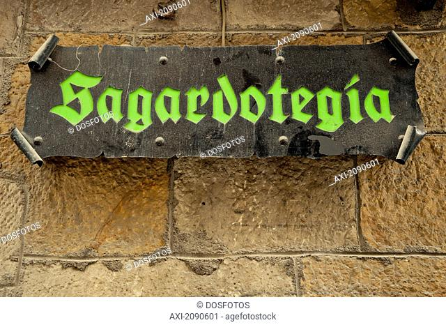 Sign Of Cider House Known As Sagardotegia, Bilbao, Basque Country, Spain