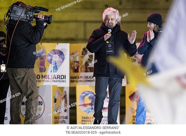 Roberta Lombardi, Beppe Grillo during Five Star Movement political rally, Rome, Italy - 02 Mar 2018