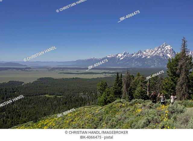 View of Grand Teton National Park from Signal Mountain Road, Wyoming, United States
