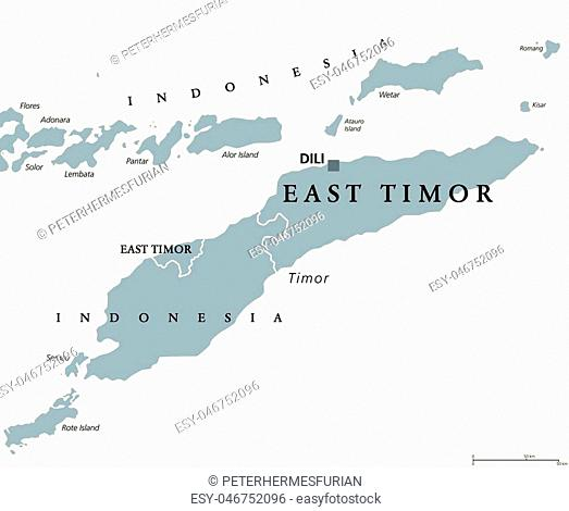 East Timor or also Timor Leste political map with capital Dili. English labeling. Democratic republic and sovereign state in Maritime Southeast Asia