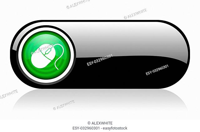mouse black and green web icon on white background