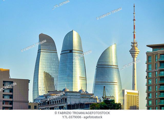 Flame towers and TV Tower, Baku, Azerbaijan