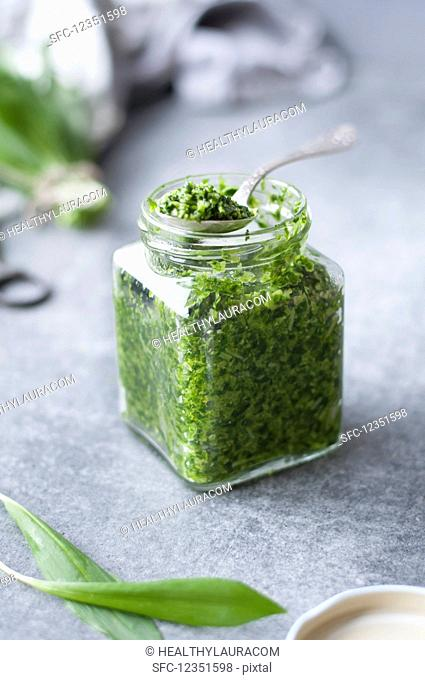 Pesto made with garlic, olive oil, parmesan, cashew nuts, basil, rocket, and wild garlic