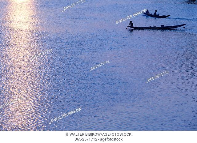 Vietnam, DMZ Area, Dong Ha, Cam Lo River, boats at sunset