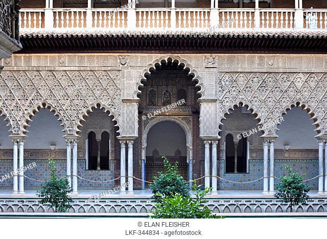 Patio de las Doncellas, Alcazar of Seville, royal palace originally a Moorish fort, Seville, Spain