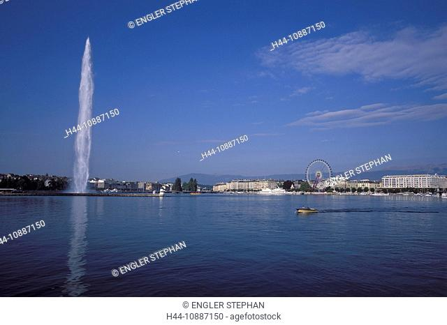 Switzerland, Europe, ship, scenery, Lac Léman, lake Geneva, Genève, Geneva, jet, jet d'eau, fountains, lake, summer, town, city