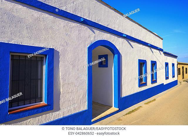 Denia Mediterranean village facades in alicante of Spain