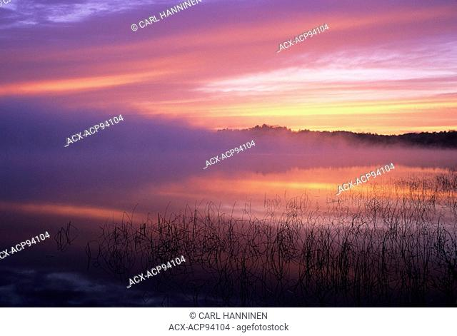 Fog at dawn, Long Lake, Sudbury, Ontario, Canada