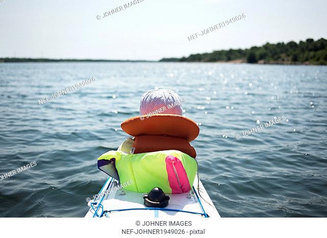 A boy in a kayak
