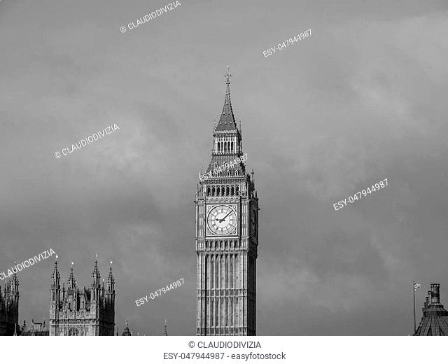 Big Ben Houses of Parliament Westminster Palace London gothic architecture in black and white