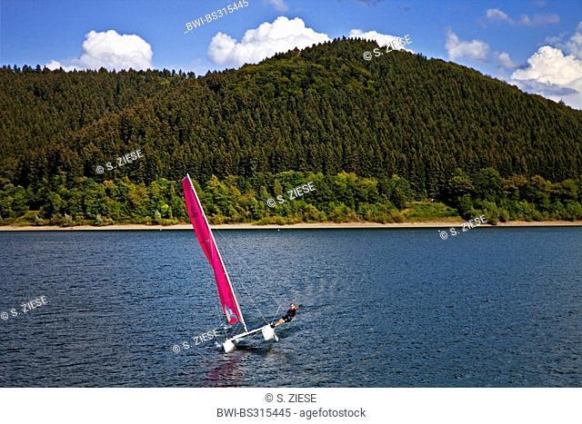 sailing catamaran on the Biggesee, Germany, North Rhine-Westphalia, Sauerland, Attendorn