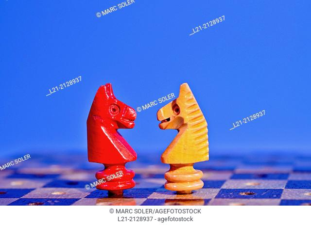 Two chess horses