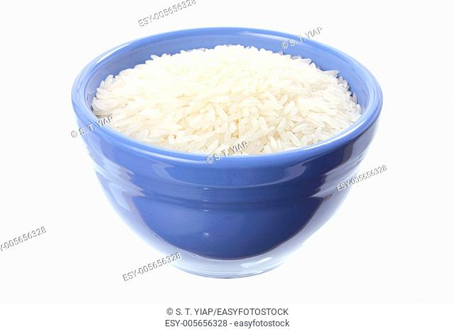 Bowl of Jasmine Rice on White Background