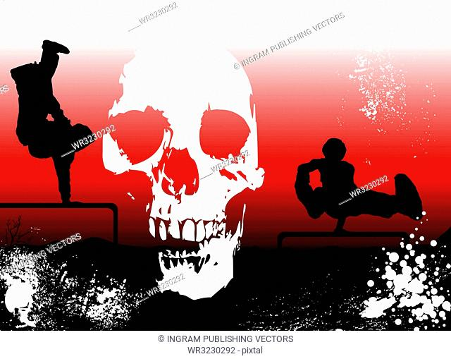 extreme sports sunset background overlayed with a skull and ink dots