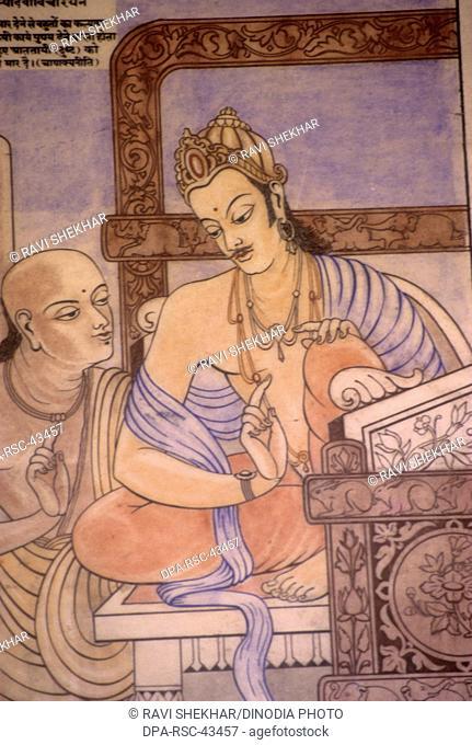 miniature painting of chanakya and king chandragupta , india