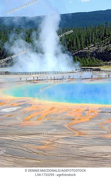 Grand Prismatic Spring Pool Midway Geyser Basin Yellowstone National Park Wyoming, WY