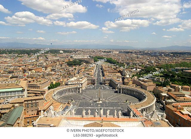 St. Peter's Square and Via della Conciliazione from the Dome of the Basilica. Vatican City. Rome. Italy