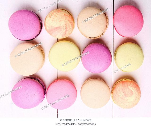 Candy, sweet. Delicious french macaron on the table