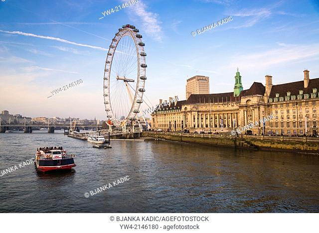 London Eye and former County Hall and GLC building, South Bank, London, UK