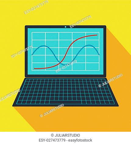 Laptop with business graph icon in flat style on a yellow background