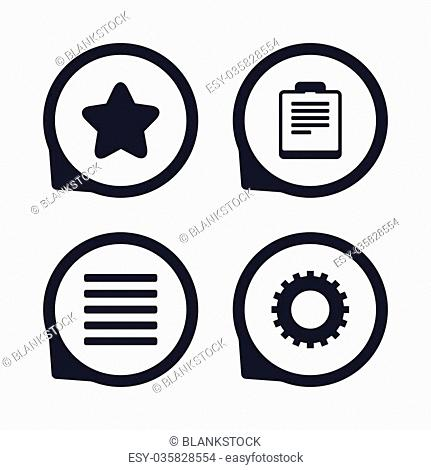 Star favorite and menu list icons. Checklist and cogwheel gear sign symbols. Flat icon pointers