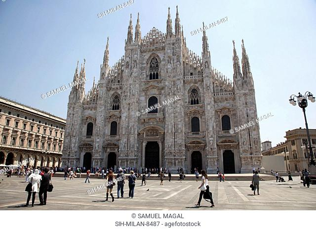 The Cathedral of Milan is in Gothic and neo-Gothic style, for the Gothic west front was begun in 1616 and completed just 200 years later