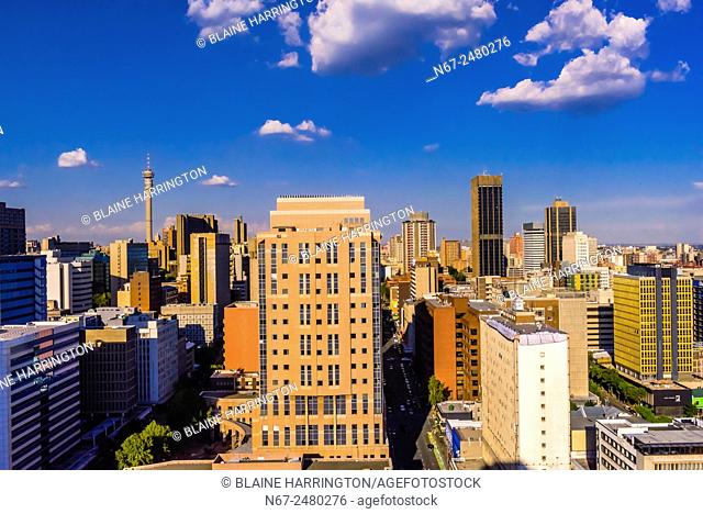 Central Business District with Nelson Mandela Bridge, Johannesburg, South Africa