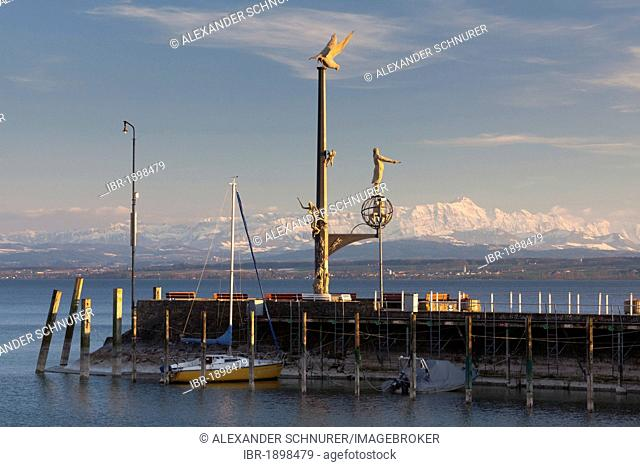 Magische Saeule, magic column, on the pier in Meersburg on Lake Constance with the Alpstein massif at back during foehn weather conditions, Baden-Wuerttemberg